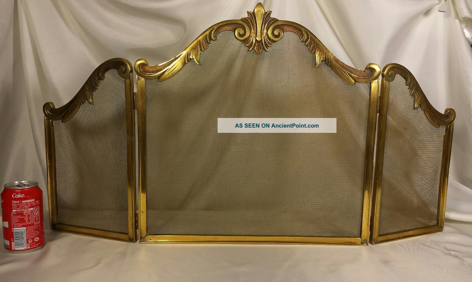 Antique Vtg French Fireplace Screen Guard Stand Brass Bronze Hearth Ware photo