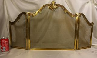 Antique Vtg French Fireplace Screen Guard Stand Brass Bronze photo