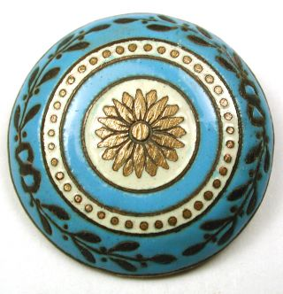 Antique French Enamel Button Turquoise W/ Brass Flower & Leaves 1 & 1/16