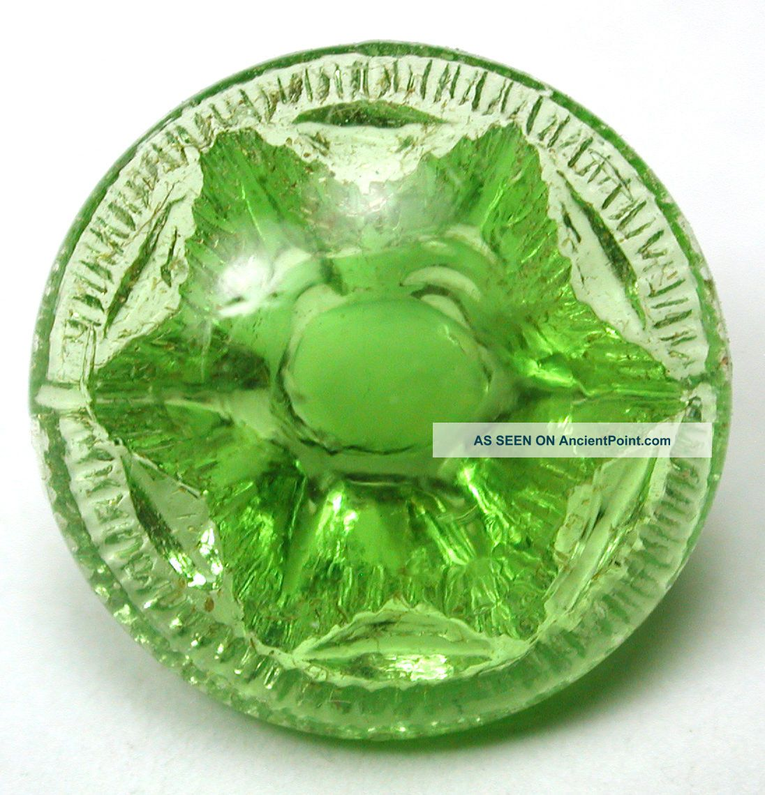 Antique Radiant Glass Button Flower Mold W/ Lime Green Color - 5/8