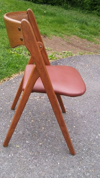 Rare Cane Wood Back Mid Century Coronet Wonderfold Folding Chairs Norquist Mcm photo