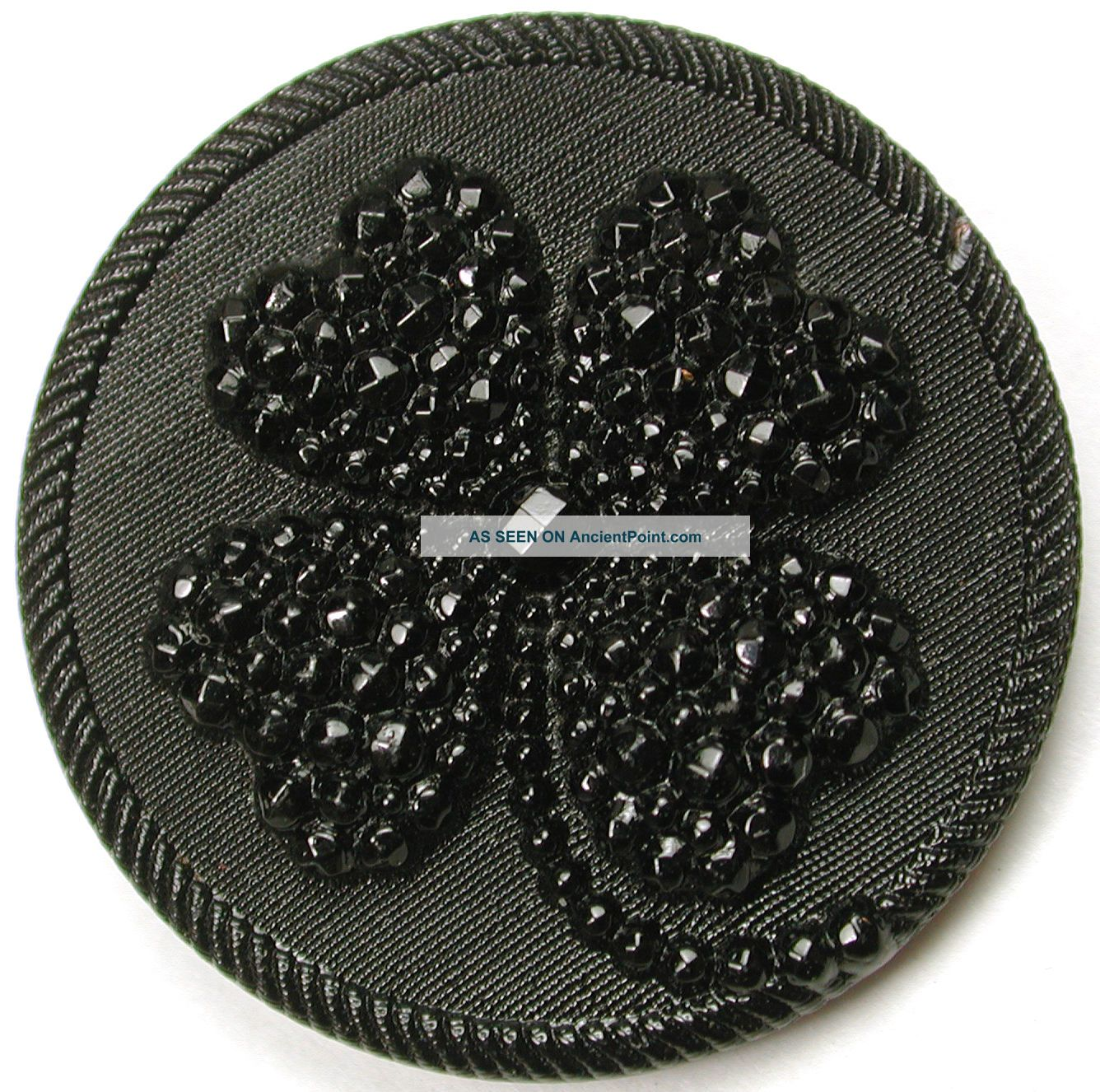 Lg Sz Antique Black Glass Button Fancy 4 Leaf Leaf Clover Design - 1 & 1/4