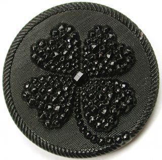 Lg Sz Antique Black Glass Button Fancy 4 Leaf Leaf Clover Design - 1 & 1/4