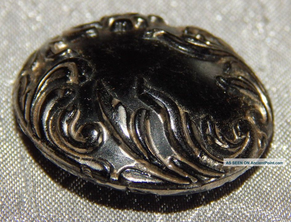 Antique Vintage Black Glass Button Gold Luster 109 - B Buttons photo