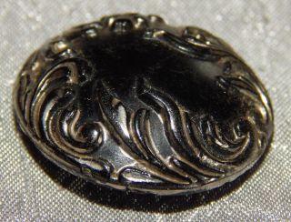 Antique Vintage Black Glass Button Gold Luster 109 - B photo