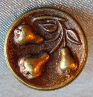 Antique Vintage Brass Picture Button Pears 1328 - A photo