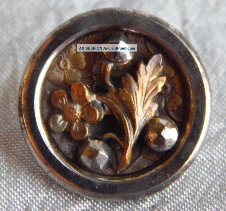 Antique Vintage Brass & Steel Button With Cut Steel Rivet Flower 942 - A Buttons photo