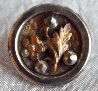 Antique Vintage Brass & Steel Button With Cut Steel Rivet Flower 942 - A photo