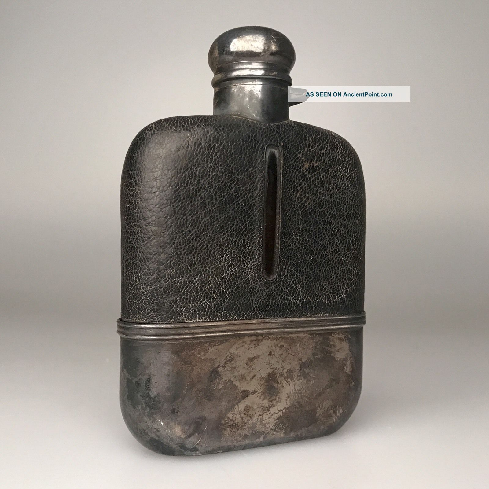 Black Starr & Frost Flask - Sterling & Leather - C.  1890 Scarce - - Bottles, Decanters & Flasks photo