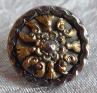 Antique Vintage Brass & Steel Button With Cut Steel Rivet 941 - A photo