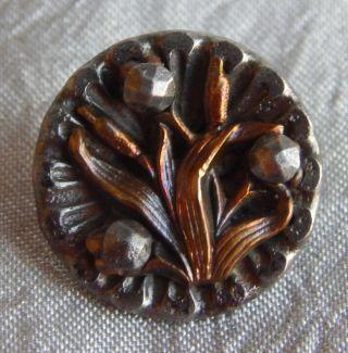 Antique Vintage Brass & Steel Button Cut Steel Rivet Flower 931 - A photo