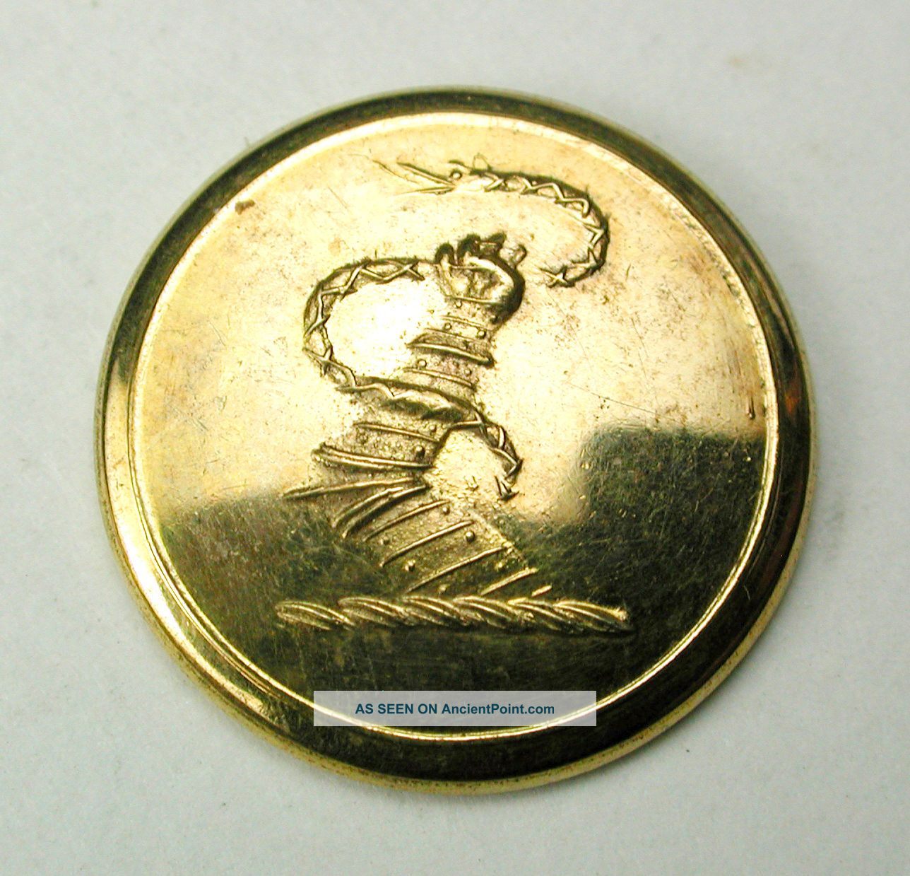 Antique Brass Livery Button - Armored Arm Holds A Serpent / Snake - 5/8 Buttons photo