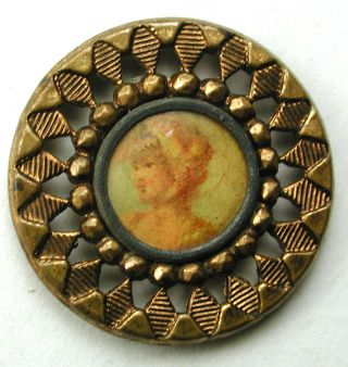 Antique Lithograph & Pierced Brass Button Lovely Woman Design - 5/8