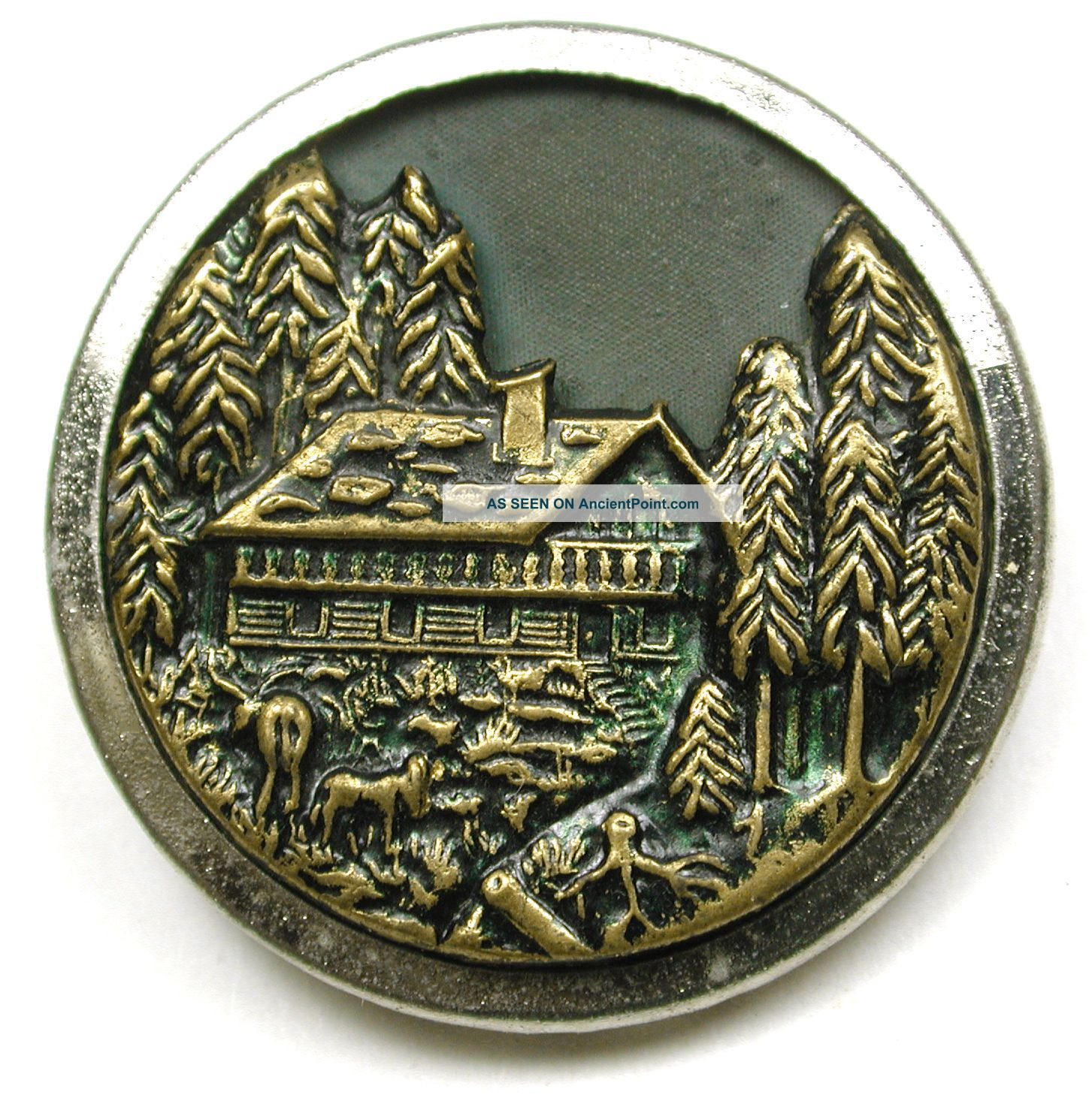 Antique Brass Button Detailed Cabin & Deer Scene - 1 & 3/16