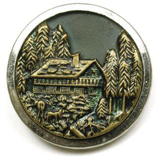 Antique Brass Button Detailed Cabin & Deer Scene - 1 & 3/16