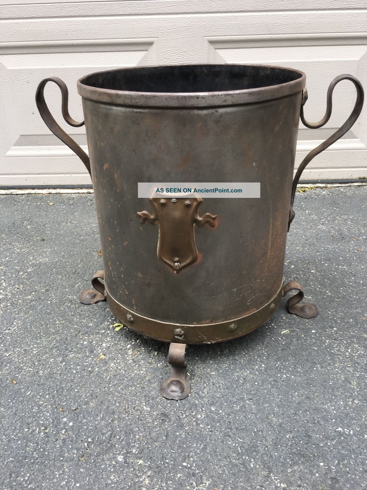 Large Edwardian Metal / Iron Footed Coal Bucket With Handles / Shield Hearth Ware photo