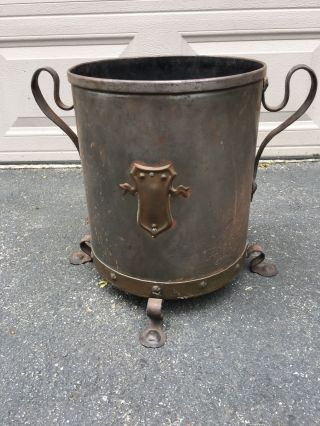 Large Edwardian Metal / Iron Footed Coal Bucket With Handles / Shield photo