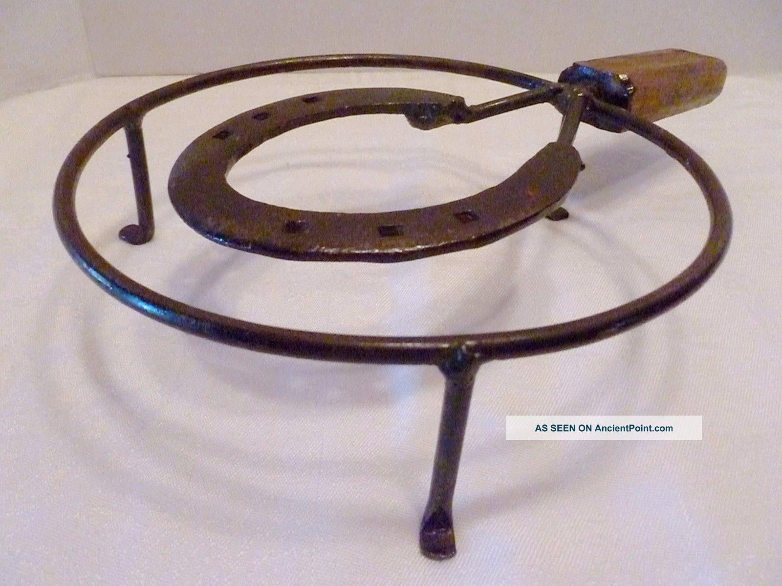 Antique Primitive Blacksmith Horseshoe Art Iron & Wood Hearth Trivet Pot Stand Trivets photo