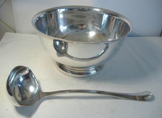 Silver Plated Punch Or Soup Bowl With Ladle photo