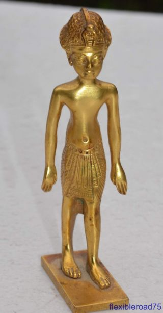 1976 King Tut Brass Statue Mma Metropolitan Museum Of Art Exhibit Piece photo