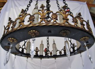Vintage Spanish Revival Antique Iron Gilt Chandelier photo