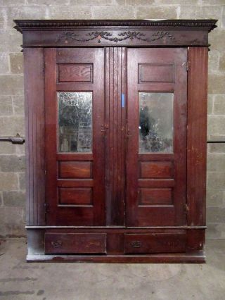 Antique Carved Oak Closet Front Built In Pantry Architectural Salvage photo