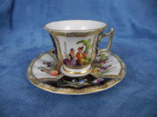 Antique Dresden Lovers Scene Demi Cup & Saucer photo