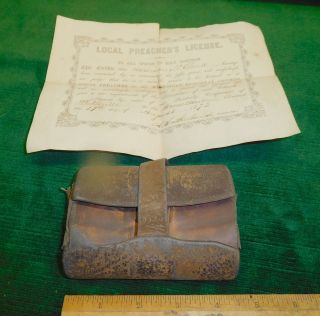 Antique Victorian Men ' S Leather Wallet Civil War Era W/1872 Preacher ' S License photo