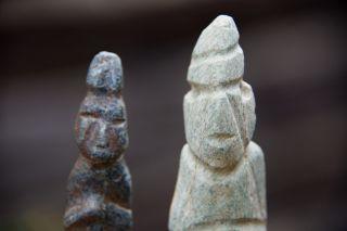 Pre Columbian Mezcala Stone Figures With Stand Arte Primitivo Olmec Aztec Maya photo