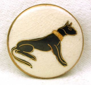 Vintage Satsuma Buttons Egyptian Dog W/ Gold Accents 1 & 1/16