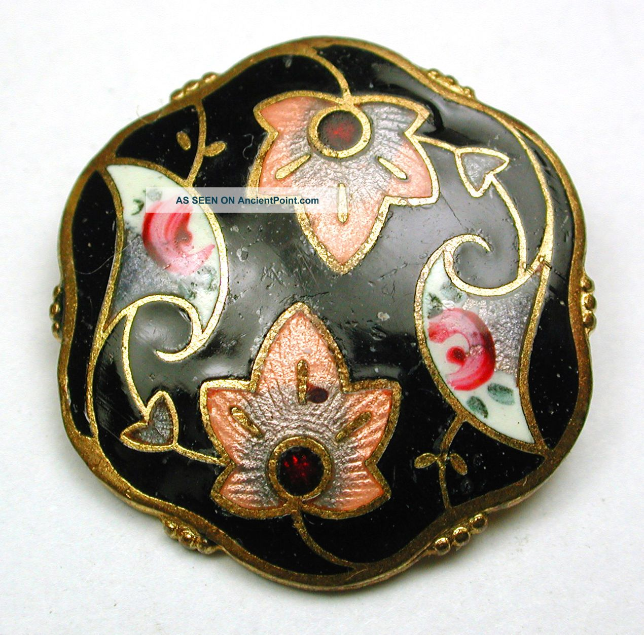 Antique Enamel Button Hand Painted & Basse Taille Flower Design 15/16