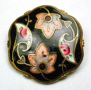 Antique Enamel Button Hand Painted & Basse Taille Flower Design 15/16