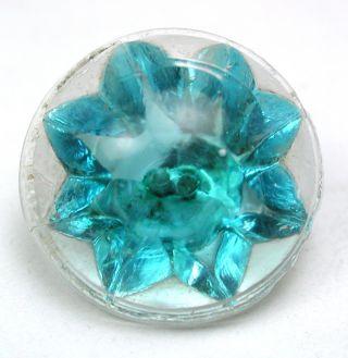 Antique Radiant Glass Button Flower Mold W/ Aqua Color - 9/16