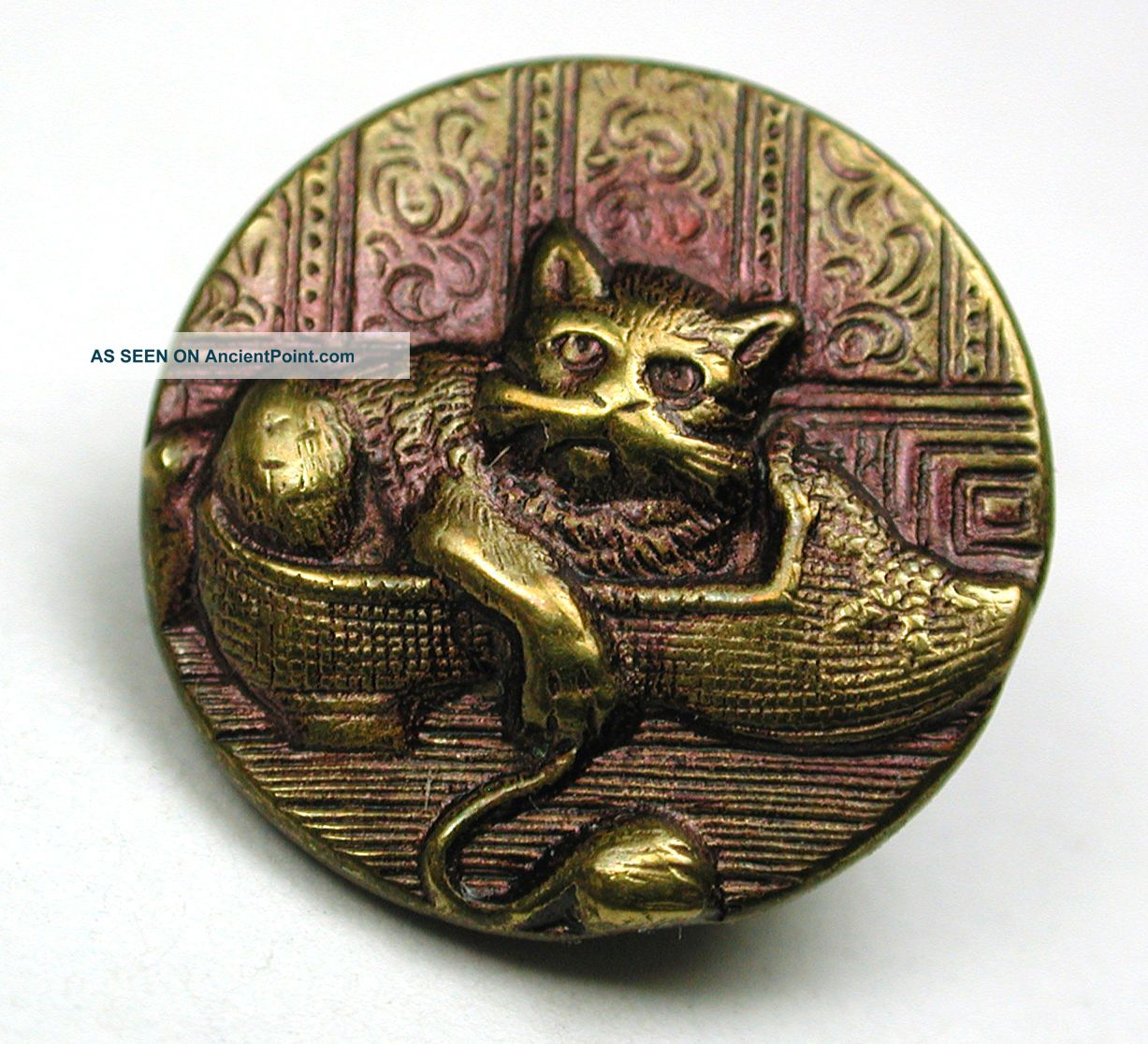 Antique Tinted Brass Button Cat In A Shoe W/ Yarn Scene - 5/8