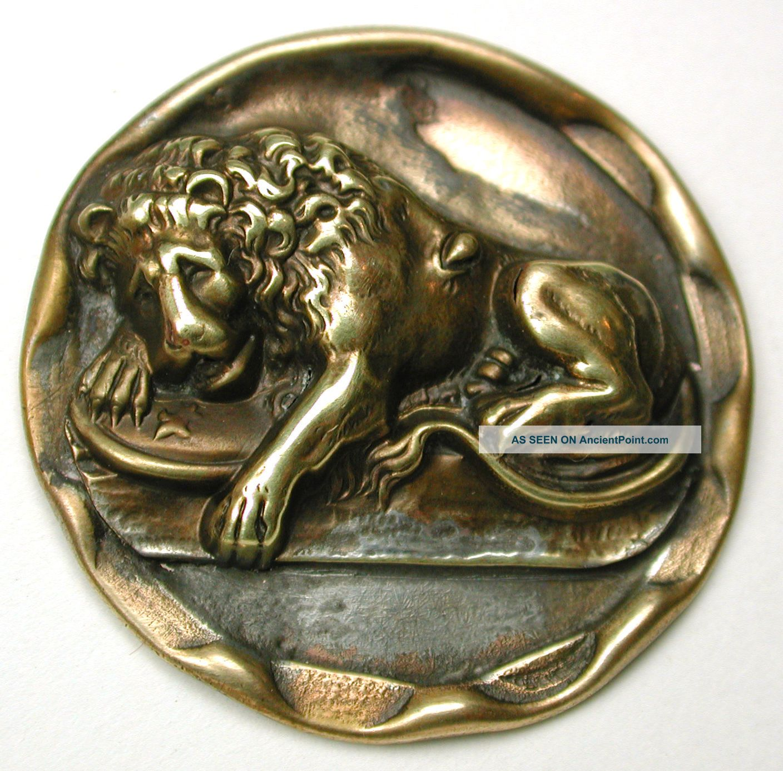 Lg Sz Antique Brass Button Detailed Sleeping Lion Scene - 1 & 7/16