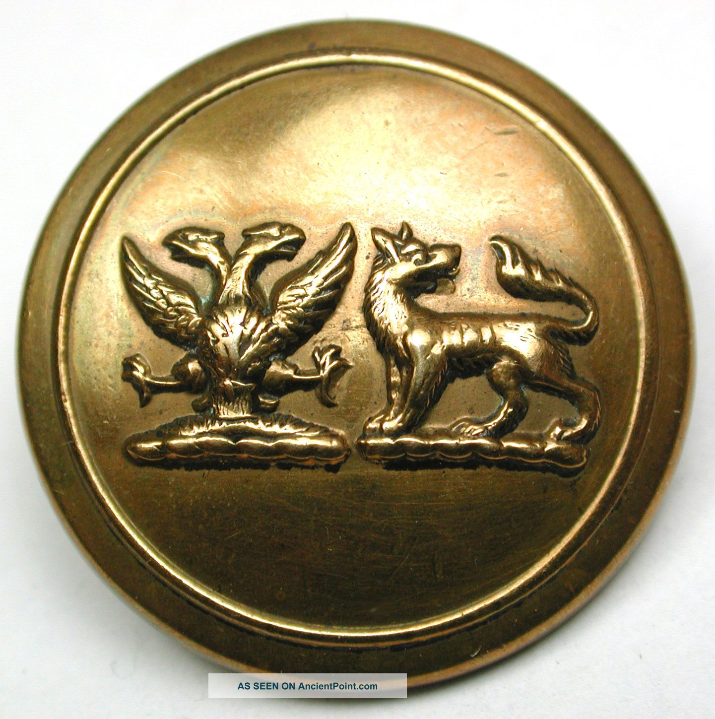 Antique Livery Button Dual Crest - 2 Headed Eagle & Wolf - Firmin - 1