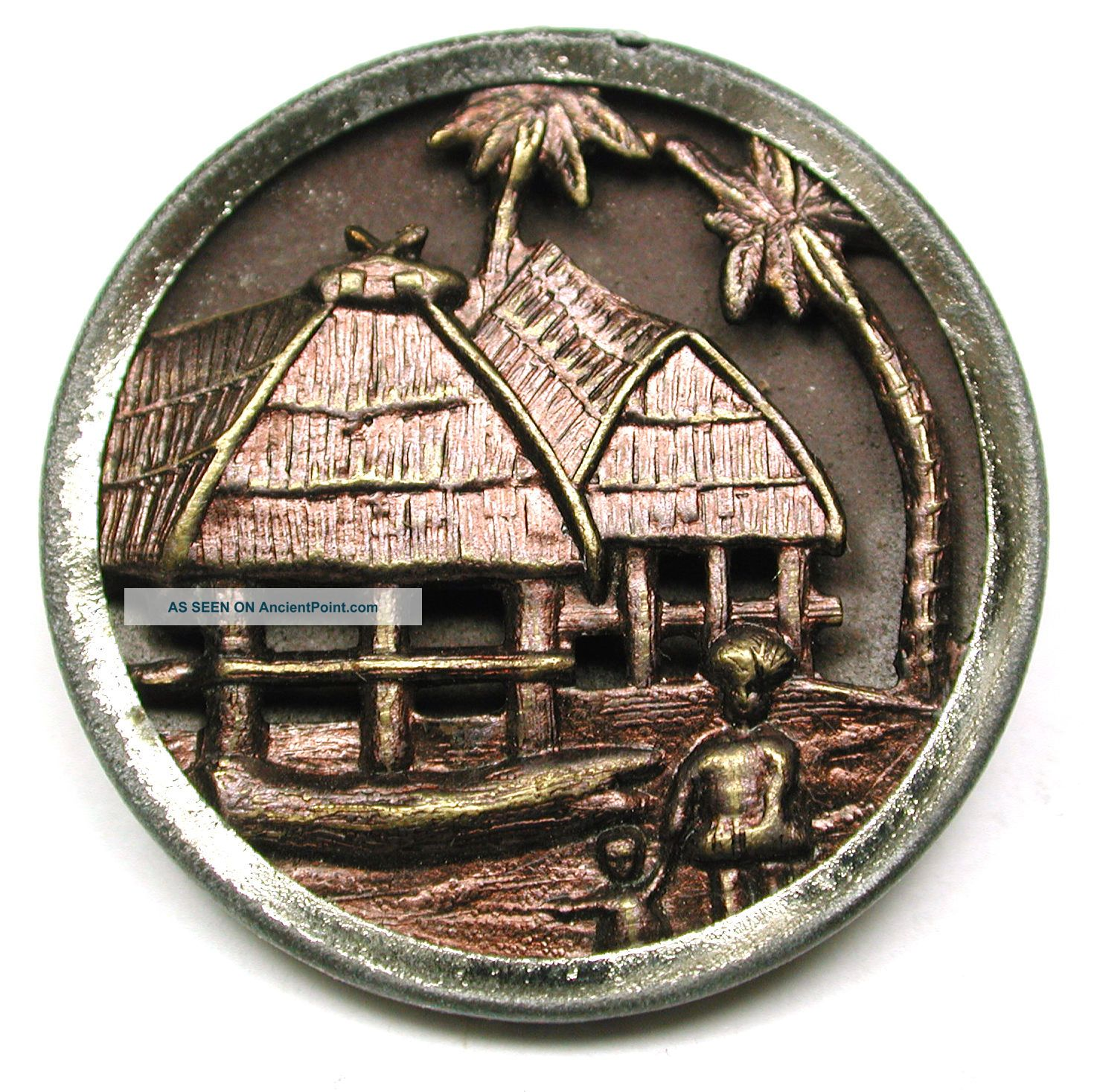 Antique Brass Button South Pacific Natives & Thatched Huts Scene - 1 & 3/16