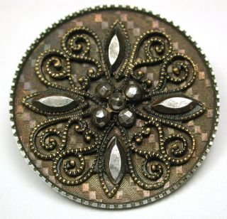 Antique Steel Cup Button Brass Filigree Design W/ Cut Steel Accents 1 & 3/16