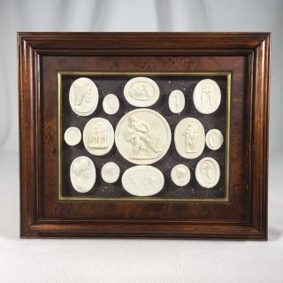 Cameo Medallions Plaster Vintage Greek Or Roman Art Very Detailed Framed photo