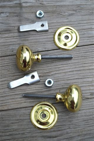 Pair Quality English Made Brass Cupboard Cabinet Turn Knob Latch Door Latch Cb15 photo
