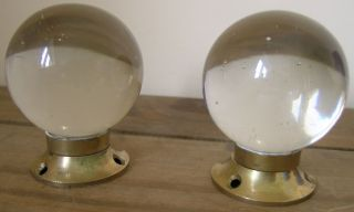 Round Solid Glass & Brass Door Handles photo