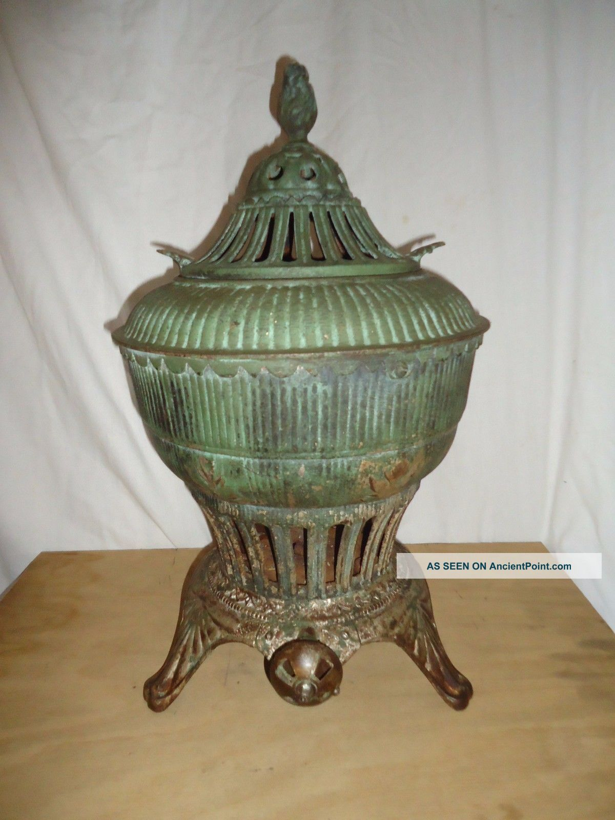 Antique Omega Gas Stove Heater,  Potbelly Urn Style Ornate Embossed Iron,  Pat 1896 Stoves photo