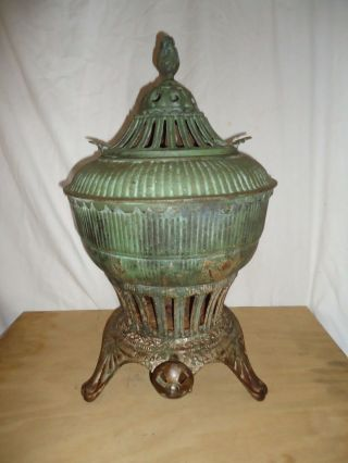 Antique Omega Gas Stove Heater,  Potbelly Urn Style Ornate Embossed Iron,  Pat 1896 photo