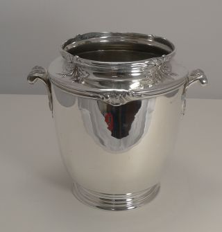 Quality French Art Nouveau Silver Plated Wine Cooler C.  1910 photo