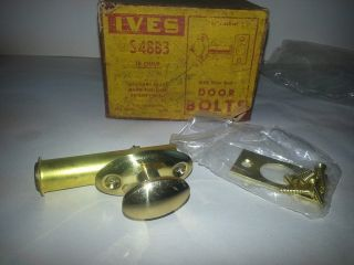 Ives Brass Door Bolt Mortise S48b3 Lock Vintage Made In Usa Restoration Hardware photo