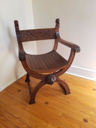 Vintage Lion Throne Chair Carved Wood Circa.  1950 photo