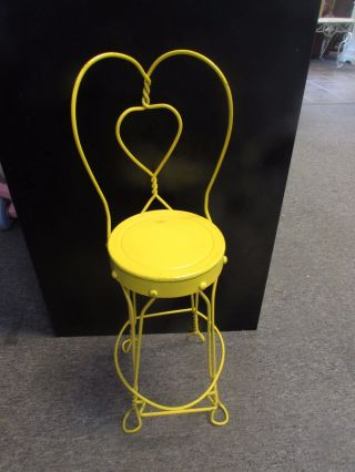 Vintage Child ' S Ice Cream Parlor Chair Vintage Wrought Iron Painted Yellow photo