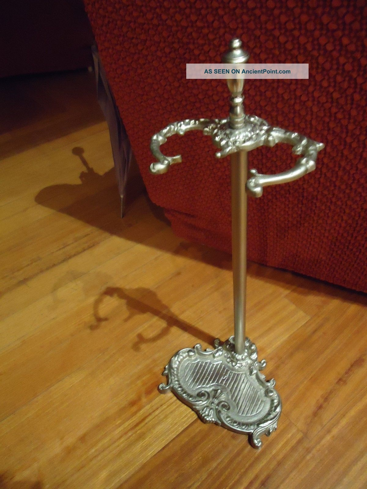 Antique Vintage White Bronze Umbrella Stand Deco Or Fireplace Tool Stand 1900-1950 photo