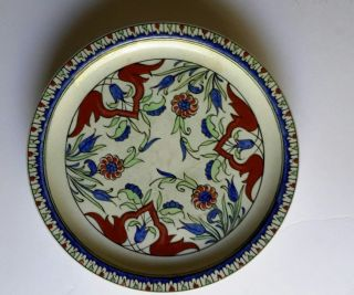 Antique Iznik Style Pottery Plate - Kutahya - Iznik Revival - Samson photo