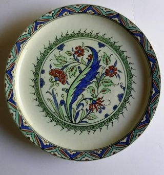 Antique Iznik Style Pottery Plate - Iznik Revival - Kutahya - Samson photo